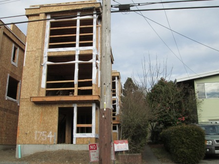 There has been a rapid increase in construction of new buildings that tower over older Ballard homes in lowrise neighborhoods